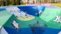 Playset or playground modern design outdoor children s in bijlmerpark amsterdam in holland Stock Photo