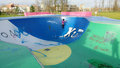 Playset or playground modern design outdoor children s in bijlmerpark amsterdam in holland Royalty Free Stock Image
