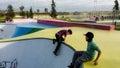 Playset or playground modern design outdoor children s in bijlmerpark amsterdam in holland Stock Photos