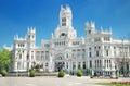 Plaza de Cibeles and Palacio de Comunicaciones, famous landmark in Madrid, Spain. Royalty Free Stock Photo