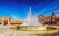 Plaza de Espana with fountain. Seville, Spain Royalty Free Stock Photo