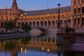 Plaza de Espana at night, Seville, Spain Royalty Free Stock Image