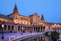 Plaza de espana spain s square pavilion evening seville spain renaissance revival architectural style Royalty Free Stock Photos