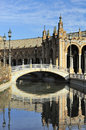 Plaza de espana spain square south wing bridge seville spain Stock Photos