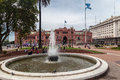 Plaza de mayo casa rosada facade argentina the fountain the argentinian flag and the of in downtown buenos aires Royalty Free Stock Photo