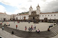 Plaza de san francisco quito ecuador with the church and monastery of st francis iglesia y monasterio commonly known as el Royalty Free Stock Images