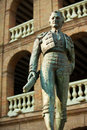 Plaza de toros de valencia bullring with toreador statue of manolo montoliu Stock Images