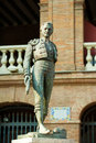 Plaza de toros de valencia bullring with toreador statue of manolo montoliu Stock Image