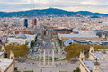 Plaza espanya barcelona spain november people walking in the street in in and cityscape seen from montjuic mountain Royalty Free Stock Photos