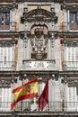 Plaza Mayor - Detail of historic tenement house facade Casa de la Panaderia in Madrid