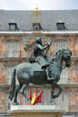 Plaza mayor madrid spain felipe iii statue in the center of in the city of Royalty Free Stock Photos