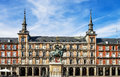 Plaza mayor madrid spain view of statue of king philips iii Royalty Free Stock Photo