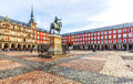 Plaza Mayor with statue of King Philips III in Madrid, Spain Royalty Free Stock Photo