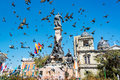 Plaza murillo in la paz pigeons flying around bolivia Royalty Free Stock Photos