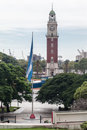 Plaza san martin buenos aires the beautiful an argentinian flag and the englishmen clock tower blooming trees frame the flag and Stock Images