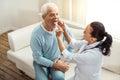 Pleasant elderly man doing a medical checkup Royalty Free Stock Photo