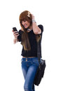 Pleasant news girl recevied on the phone Royalty Free Stock Photography