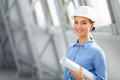 Pleasant woman architect at work Royalty Free Stock Photo