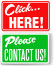 Please contact us click here store signs Royalty Free Stock Images