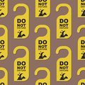 Please do not disturb hotel door quiet motel service room privacy seamless pattern vector card hang message . Royalty Free Stock Photo