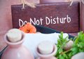 Please do not disturb sign at the spa