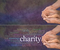 Please help our charity wide banner with a man s hands holding a woman s cupped hands with a word cloud on the left surrounding Stock Photography