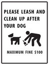 Please leash and clean up after your dog sign Royalty Free Stock Photo