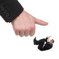 Please no terrified young businessmen lying on his back while a huge human finger trying to smash him while isolated on white Stock Photos