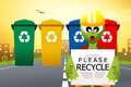 Please recycle illustration of bins for Royalty Free Stock Photos