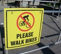 Please walk bike sign Royalty Free Stock Photo