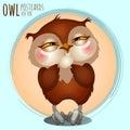 Pleased brown owl cartoon series vector owls Royalty Free Stock Photo