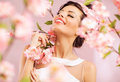 Pleased brunette woman among the flowers pink Stock Image