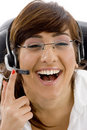 Of pleased female customer care executive Royalty Free Stock Photos