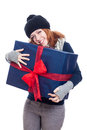 Pleased woman with big present Royalty Free Stock Photo