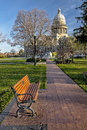 Pleasent view of the state capital of idaho brick sidewalk leads to Royalty Free Stock Photography