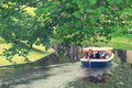 Pleasure boat on the canal in Riga Park Royalty Free Stock Photo