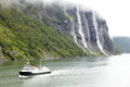 Pleasure boat in fjord Royalty Free Stock Photos