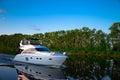 Pleasure boat floats on the river Volga Royalty Free Stock Photo