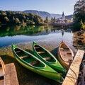 Pleasure boats at lake. Italy. Alps Royalty Free Stock Photo