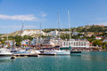 Pleasure yachts and boats are moored in marina of balchik bulgaria Royalty Free Stock Photography