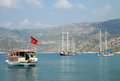 Pleasure yachts near the Mediterranean shore of Turkey Royalty Free Stock Photo