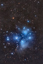 The pleiades seven sisters lrgb panel mosaic of Stock Image