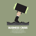 Plentiful money briefcase of a sank businessman business crisis concept vector illustration Royalty Free Stock Photos