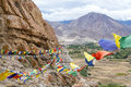 Plenty of colorful Buddhist prayer flags on the Stupa in Ladakh, Jammu & Kashmir, India Royalty Free Stock Photo