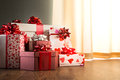 Plenty of gifts elegant christmas on hardwood floor in white and red tones Royalty Free Stock Images