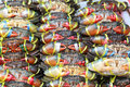 Plenty of living crabs being tie at the market for sell Royalty Free Stock Photo