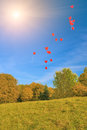 Plenty of red balloons in blue skies against natural scenery added sunlight vertical image Royalty Free Stock Image