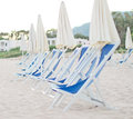 Plenty of sun loungers on the beach Royalty Free Stock Photography