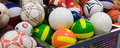Plenty of volleyballs in the supermarket coloured Royalty Free Stock Images