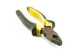Plier old and rusty yellow and black handle Royalty Free Stock Photography